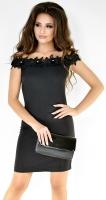 Черное платье с открытыми плечами № 34033