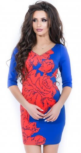 Платье № 10805 красно-синее (розница 518 грн./529 грн.)