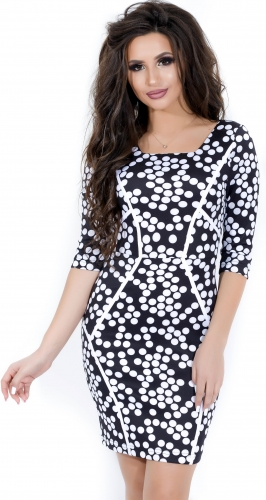 Платье № 10142N белый горох