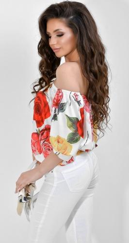 Блуза № 1797N  Dolche розы на белом (розница 485 грн.)