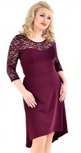 Красивое платье с гипюром цвета марсала