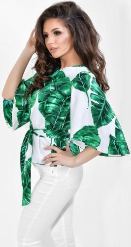 Блуза № 1799N Dolche зелёные листья на белом (розница 500 грн.)