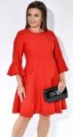 Красное нежное платье с расклешенной юбкой