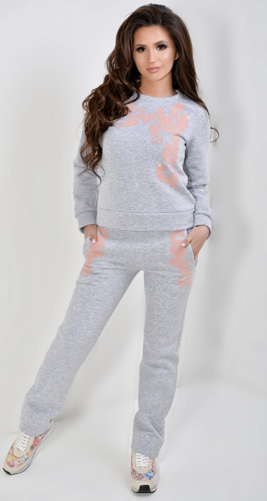 4c01fee5 Женская одежда оптом Montella | Серый теплый спортивный костюм