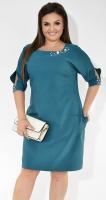 Красивое зеленое деловое платье