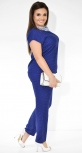 Женский брючный костюм синего цвета в мелкий горошек