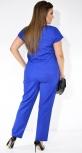 Женский брючный костюм цвета электрик в мелкий горошек