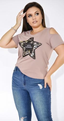 Модная женская футболка цвета мокко