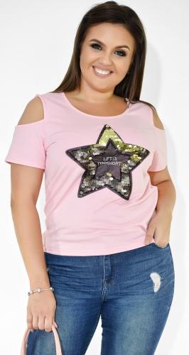 Модная розовая женская футболка