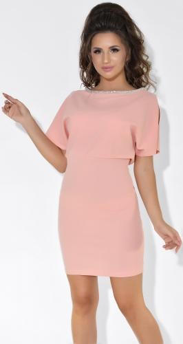 Пудровое вечернее платье № 37463