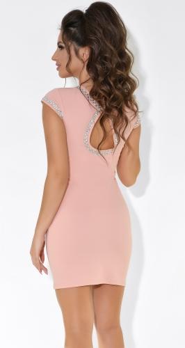 Красивое вечернее платье цвета пудра № 3762