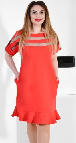 Платье № 36551N красное