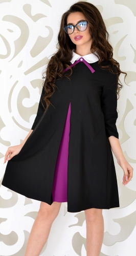 Элегантное черное платье со складкой