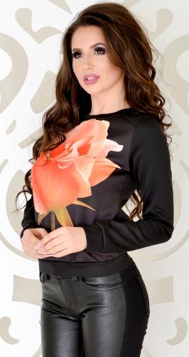 Свитшот № 1662N роза на черном (розница 490 грн.)