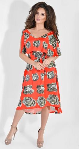 Легкое шелковое платье с принтом  Dolche зеленый на красном