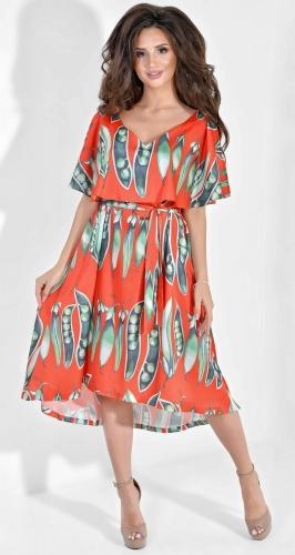 Легкое шелковое платье с принтом Dolche на красном