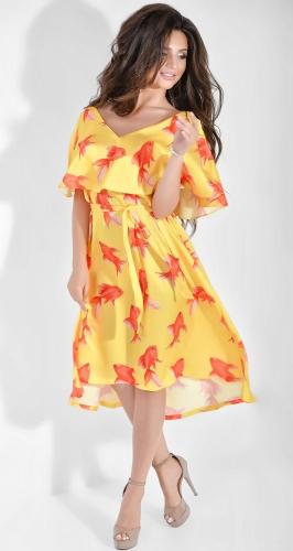 Легкое шелковое платье с принтом Dolche