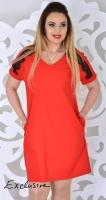 Модное платье № 1774 красное
