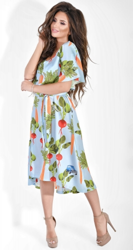Легкое шелковое платье с принтом Dolche голубой