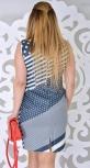 Платье № 1330 синее диагональ+горох