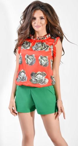 Блуза № 36915N Dolche зеленое на красном (розница 465 грн.)