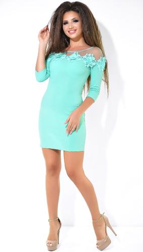 Яркое платье цвета мята с цветами № 33106
