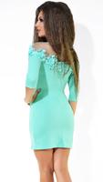 Коктейльное платье цвета мята с цветами