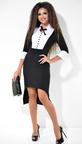 Черно-белое офисное платье