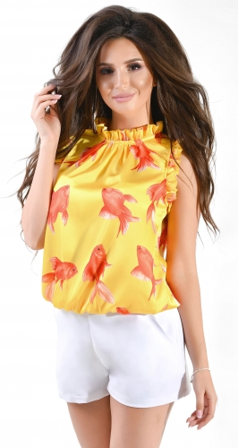 Блуза № 36915N Dolche на желтом под горло (розница 465 грн.)