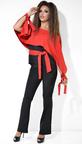 Красно-черный  брючный костюм