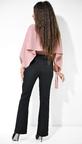 Розово-черный женский брючный костюм