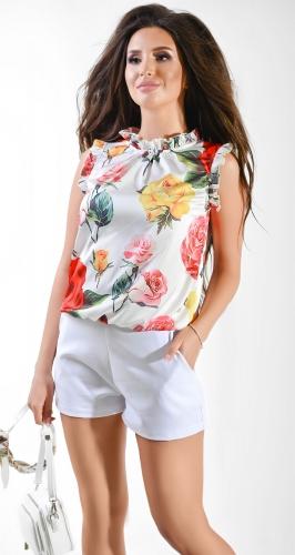Блуза № 36915N Dolche на белом под горло (розница 465 грн.)