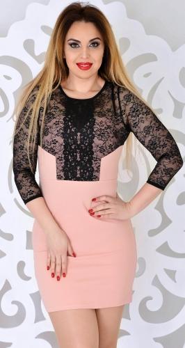 Платье № 3553Nr пудра и черное