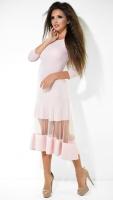 Эффектное платье МИДИ № 3433 , пудровое