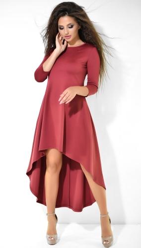 Модное бордовое  платье