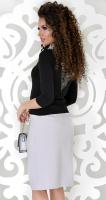 Блузка № 1784L черно-белая