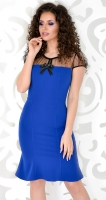 Платье с красивым декольте ярко синее