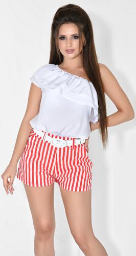 Асимметричная лёгкая блузка № 1802N белая (розница 435 грн.)