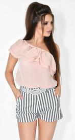 Асимметричная лёгкая блузка № 1802 пудровая