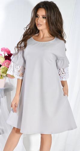 Платье № 3644N серый и белый