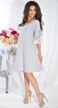 Платье № 3644 серый и белый