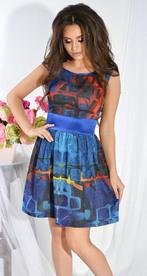 Платье № 7931 квадратный узор и синий