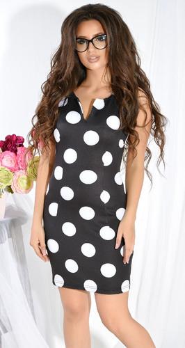 Черное платье в крупный белый горох