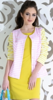Жакет № 3581L розово-желтая полоска