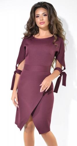 Стильное платье цвета марсала с завязками