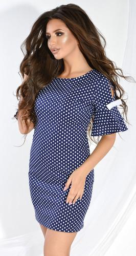 Платье № 36103SN белый горох на синем (розница 530 грн.)