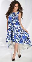 Платье № 3689 синие цветы на белом