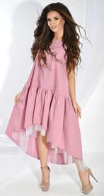 Платье № 3689 белый горох на розовом