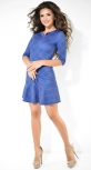 Стильное синее платье с оборкой
