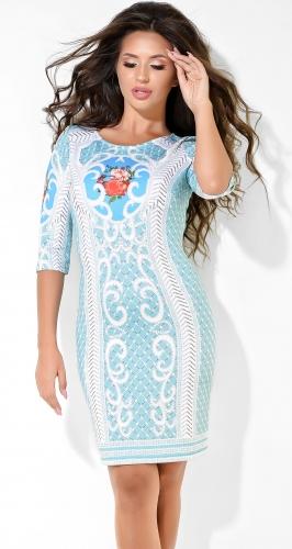 Очаровательное бирюзовое платье с узором